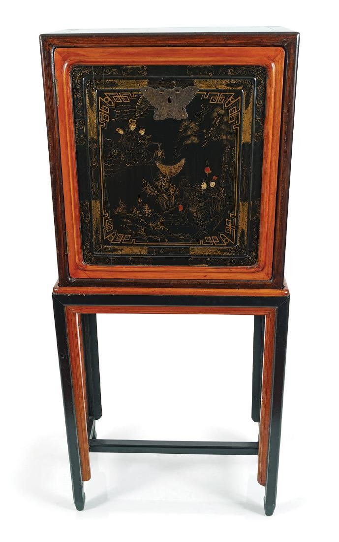 19TH-CENTURY JAPANESE LACQUERED CABINET ON STAND