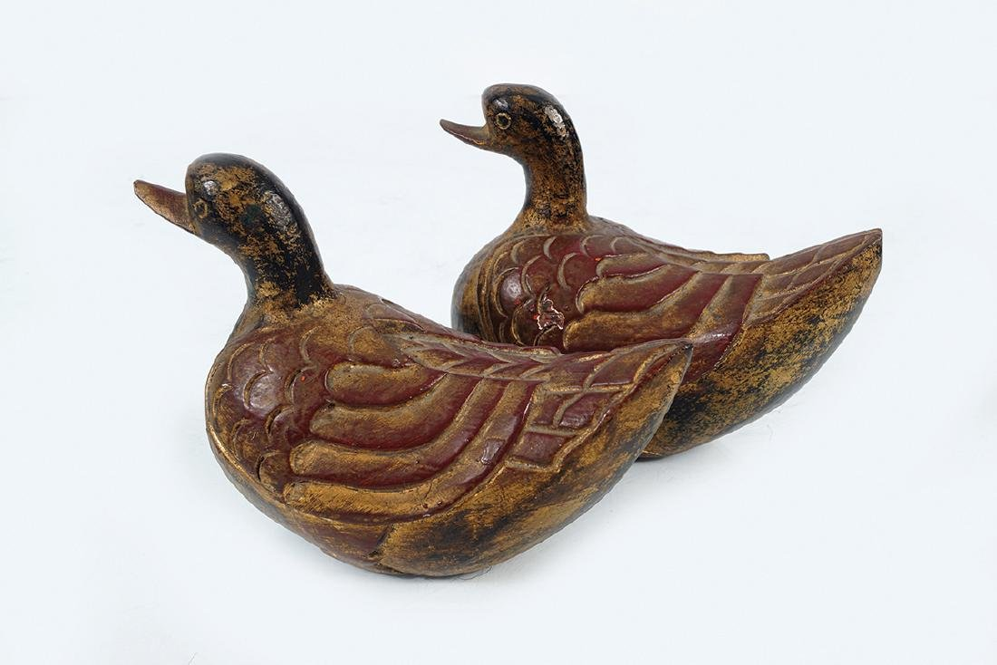 PAIR OF EARLY CHINESE CARVED WOOD DUCKS