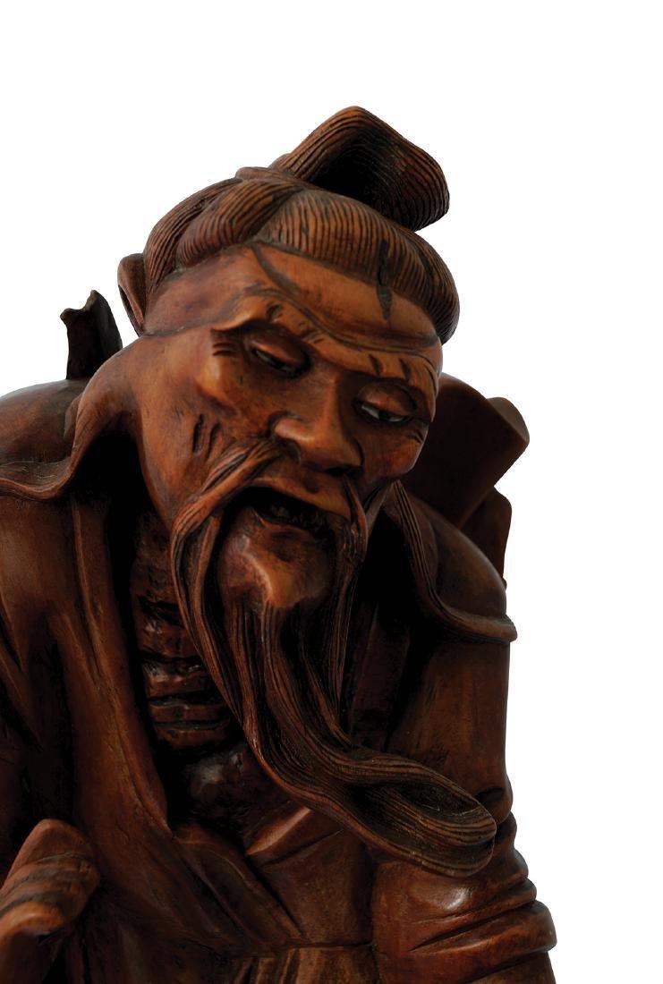 19TH-CENTURY CHINESE HARD WOOD FIGURE - 2