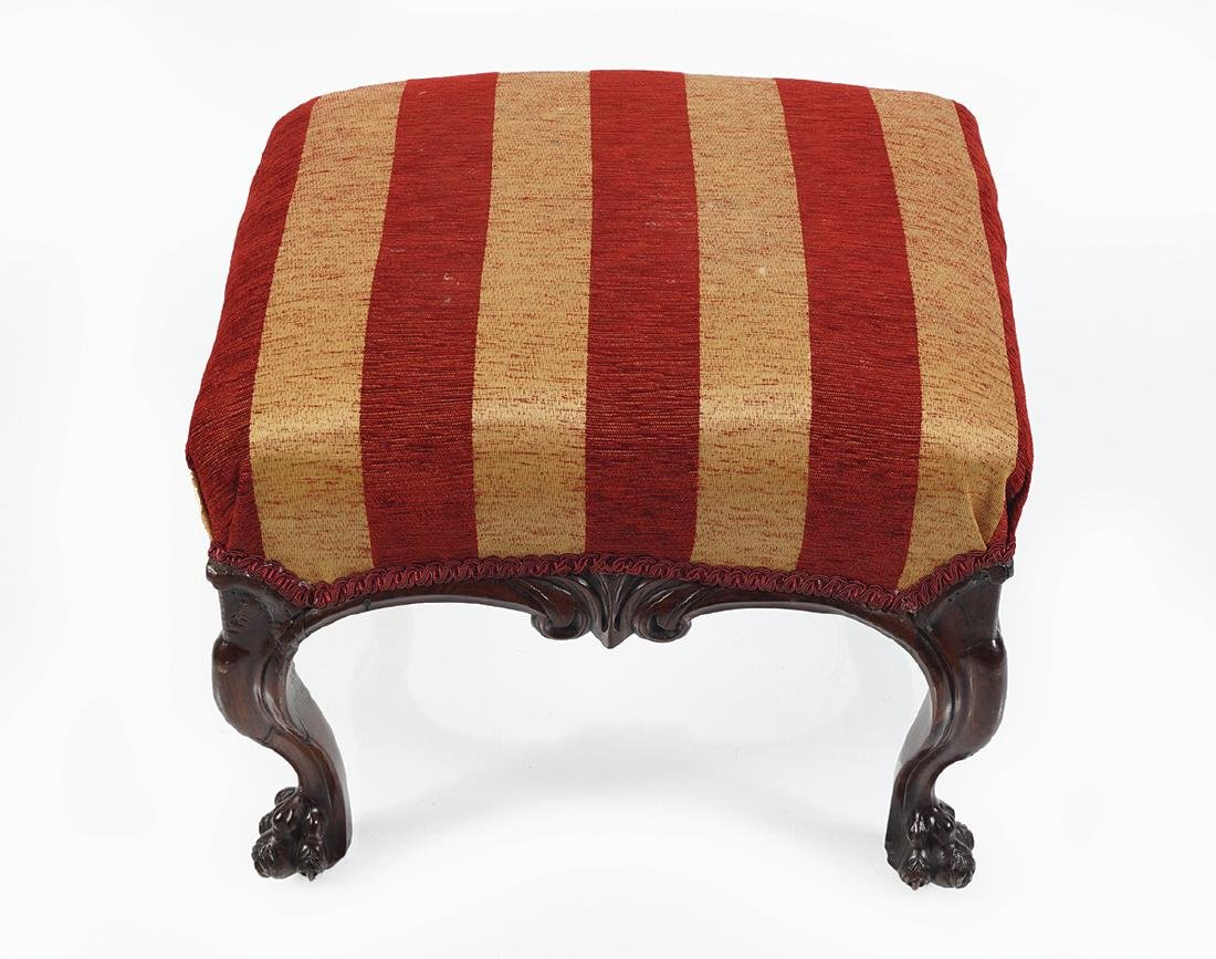 IRISH 19TH-CENTURY MAHOGANY AND UPHOLSTERED STOOL