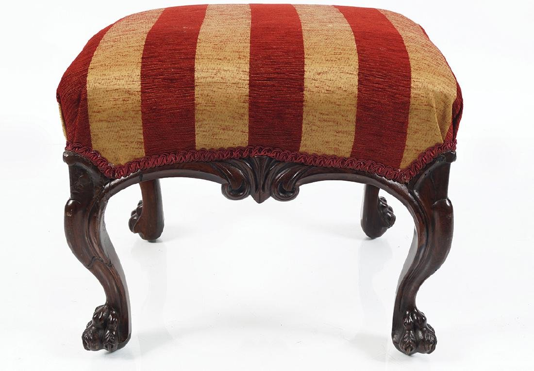 IRISH 19TH-CENTURY MAHOGANY AND UPHOLSTERED STOOL - 2
