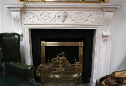 GEORGE III STYLE WHITE MARBLE CHIMNEY PIECE