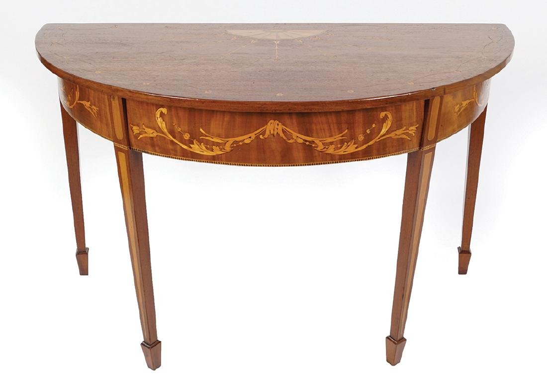 GEORGE III PERIOD MAHOGANY AND MARQUETRY TABLE