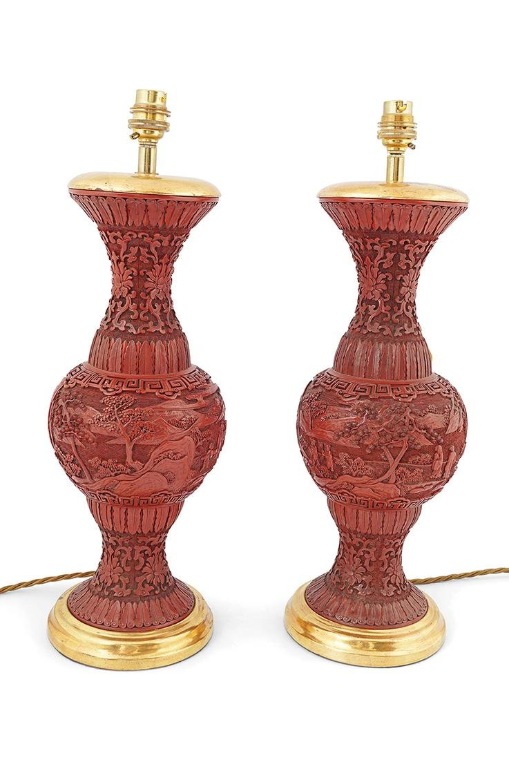 PAIR OF CHINESE QING CINNABAR LACQUER VASES