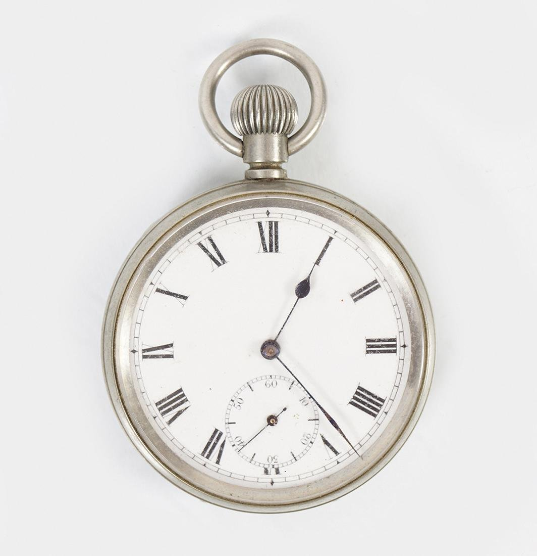 SILVER/SILVER PLATED OPEN FACE GENTS POCKET WATCH