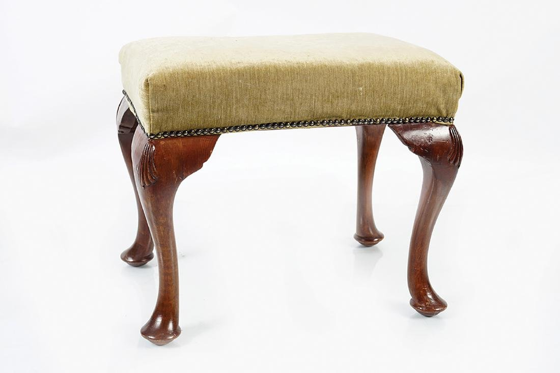 QUEEN ANNE STYLE MAHOGANY UPHOLSTERED STOOL