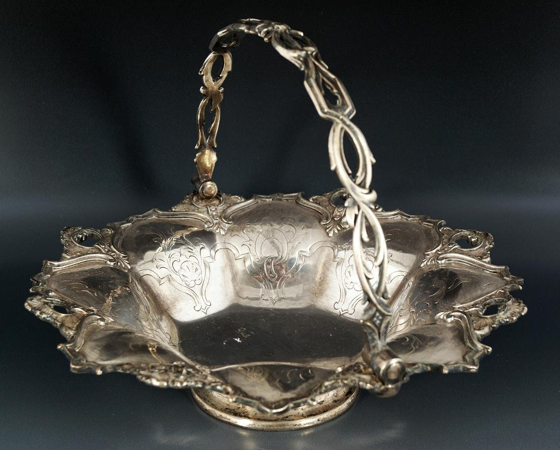 19TH-CENTURY SHEFFIELD  SILVER PLATED CAKE BASKET