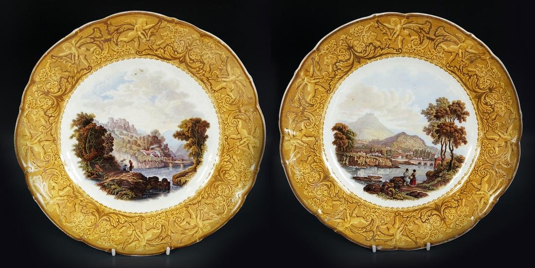TWO VICTORIAN PRATWARE PICTORIAL PLATES