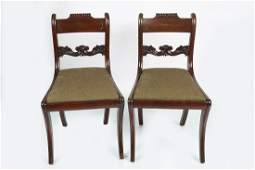 PAIR OF REGENCY MAHOGANY AND BRASS INLAID CHAIRS