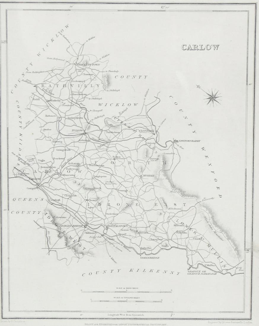 Carlow Map Of Ireland.Lewis Map Of County Carlow