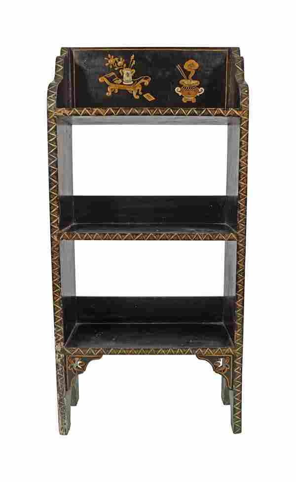 LATE 19TH-CENTURY LACQUERED OPEN BOOKSHELF