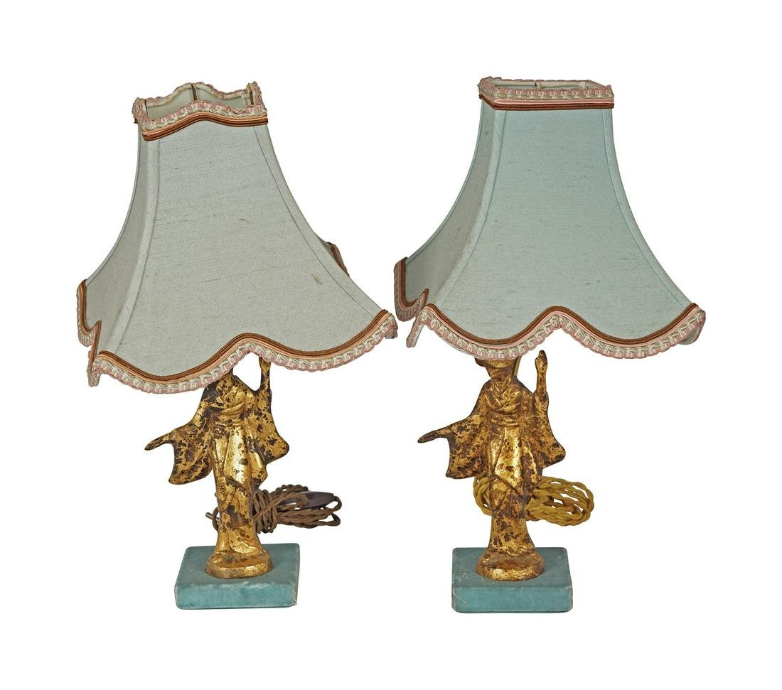 PAIR OF CARVED GILT WOOD FIGURE STEMMED TABLE LAMPS