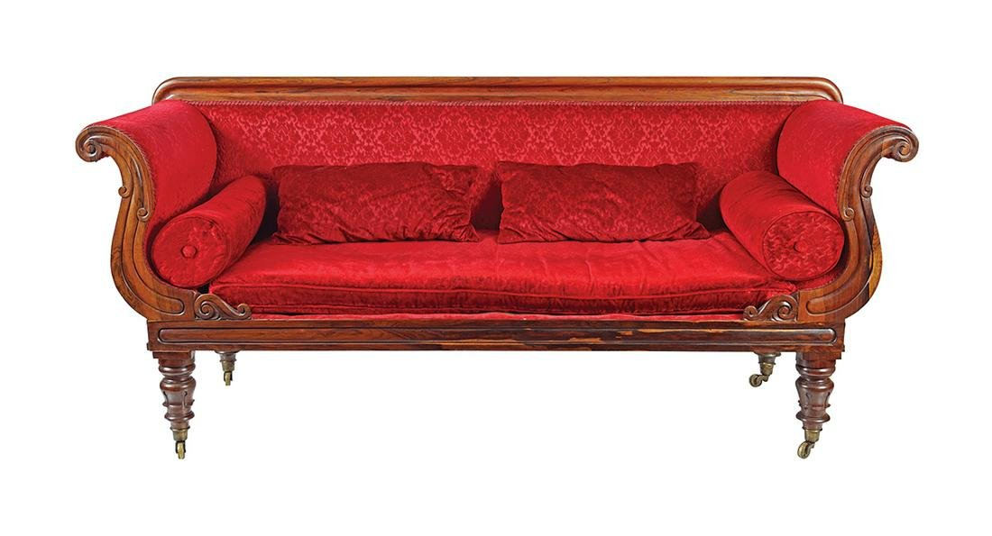 WILLIAM IV ROSEWOOD LIBRARY SETTEE