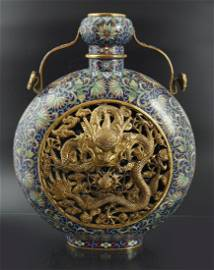 CHINESE CLOISONNE MOON FLASK