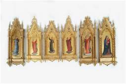 SET OF SIX REVERSE PAINTED GLASS ICONS