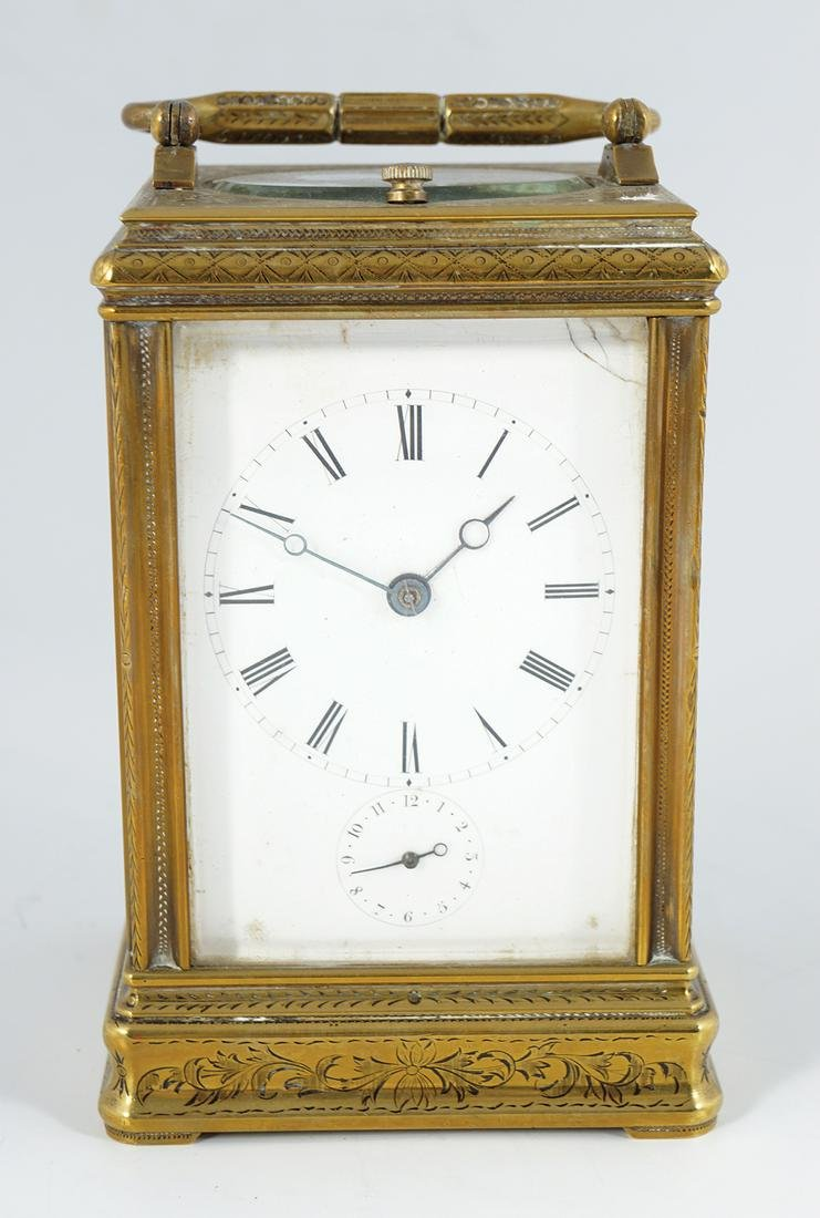 19TH-CENTURY FRENCH BRASS REPEATER CARRIAGE CLOCK