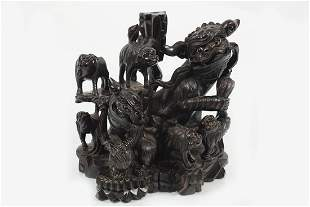 LARGE 19TH-CENTURY CHINESE HARDWOOD SCULPTURE