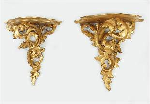 PAIR OF CARVED GILTWOOD WALL BRACKETS