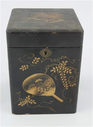 19TH-CENTURY JAPANESE LACQUERED TEA CADDY & COVER