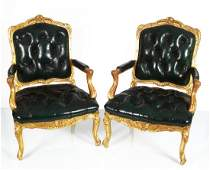 PAIR OF LOUIS XV STYLE CARVED GILT WOOD ARMCHAIRS