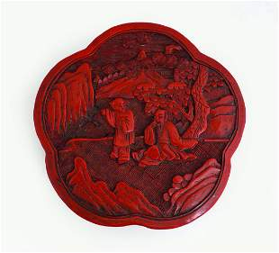 CHINESE FLOWER-SHAPED CINNABAR LACQUER BOX