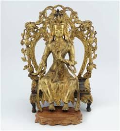 CHINESE QING PERIOD GILT BRONZE BUDDHA