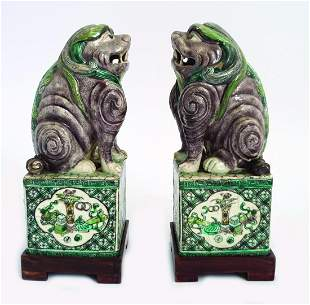 PAIR OF CHINESE FAMILLE VERTE FOO DOGSS