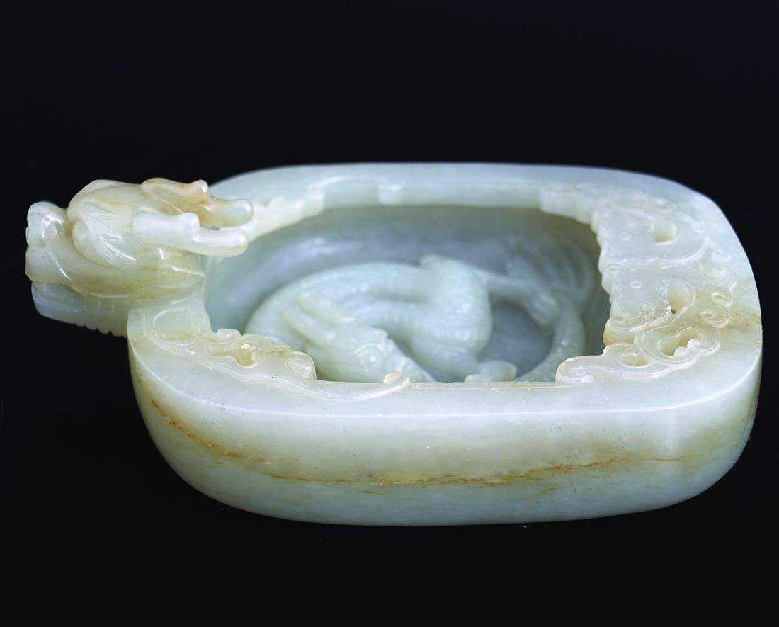 CHINESE QING PERIOD JADE SCHOLAR'S BRUSH WASHER