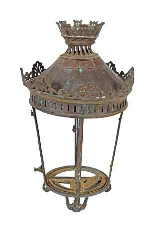 PAIR 19THCENTURY BRONZE STREET LAMPS