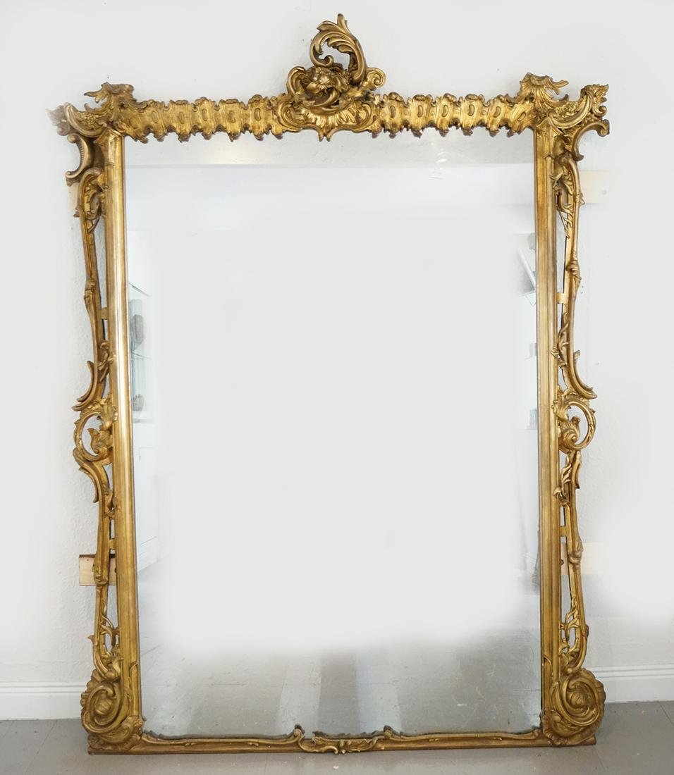 LARGE 19TH-CENTURY GILT WOOD OVER MANTLE MIRROR