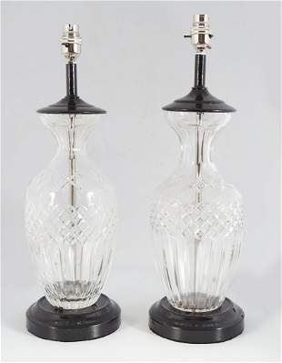 PAIR OF GLASS STEMMED TABLE LAMPS