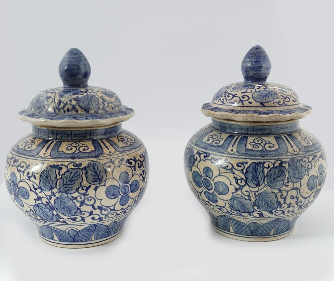 PAIR OF EARLY BLUE & WHITE KOREAN GINGER JARS
