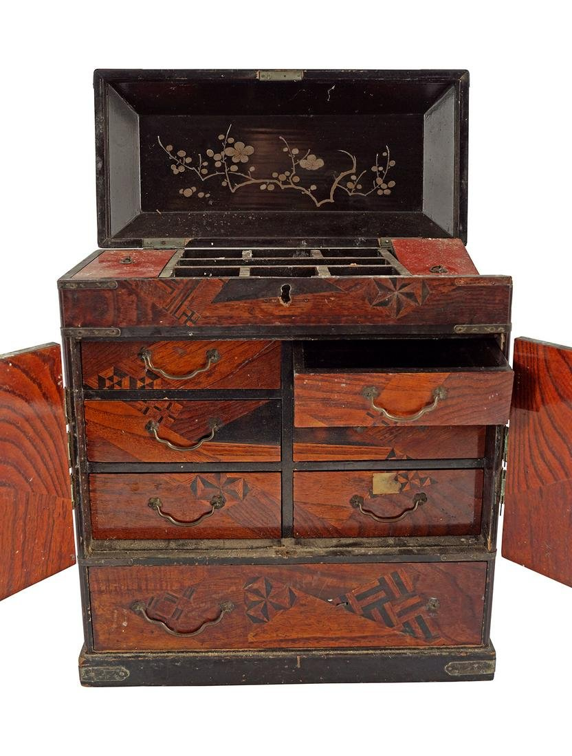 JAPANESE LACQUER & PARQUETRY TABLE CABINET
