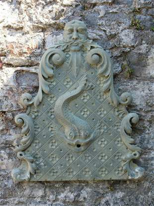 19THCENTURY CARVED STONE FOUNTAIN PANEL