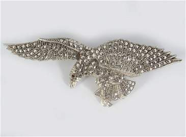 STERLING SILVER AND MARCASITE EAGLE BROOCH