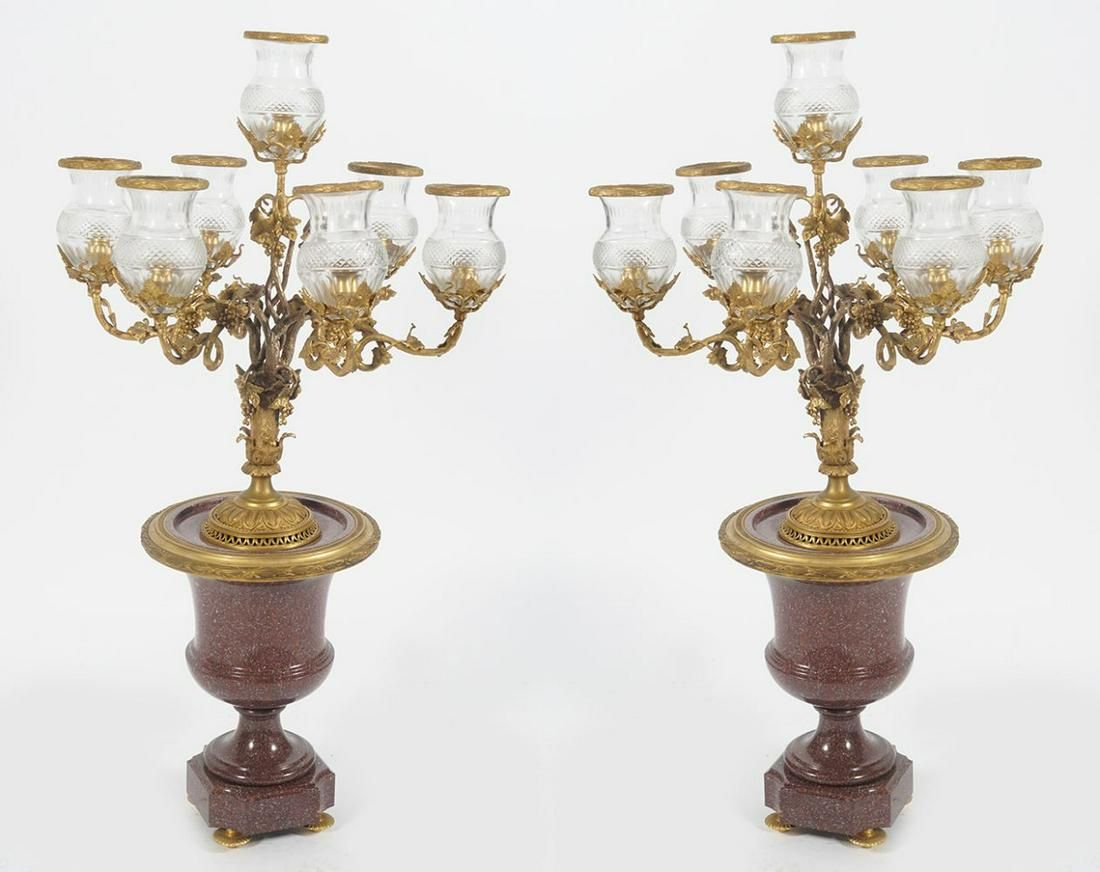PAIR OF LARGE FRENCH GILT BRONZE CANDELABRAS