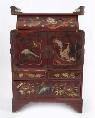 JAPANESE LACQUERED COLLECTOR'S CABINET