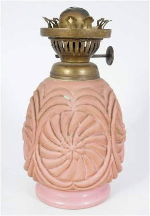 VICTORIAN PINK GLASS OIL LAMP