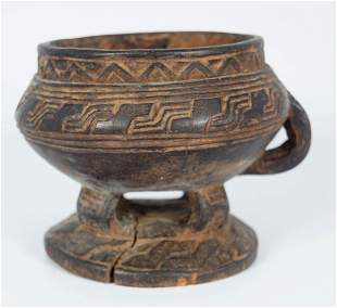 EARLY AFRICAN CARVED WOOD CEREMONIAL BOWL