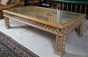 LARGE DESIGNER CHIPPENDALE COFFEE TABLE