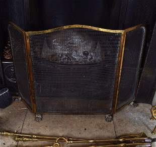 EDWARDIAN 3-FOLD BRASS FIRE SCREEN