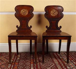 PAIR OF REGENCY MAHOGANY HALL CHAIRS