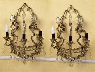 PAIR OF VENETIAN GLASS SCONCES
