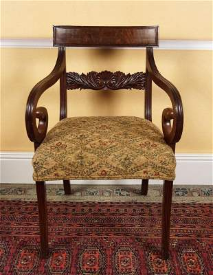 PAIR OF REGENCY PERIOD MAHOGANY LIBRARY CHAIRS