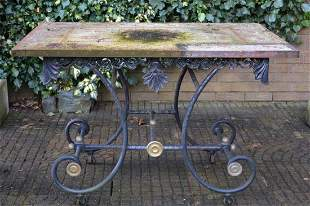 19TH-CENTURY FRENCH WROUGHT IRON GARDEN TABLE