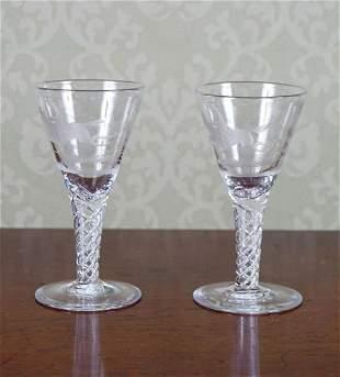 PAIR OF GEORGE III WINE GLASSES