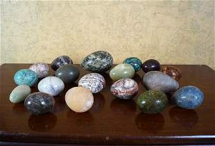 COLLECTION OF GRAND TOUR MARBLE EGGS