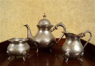 3 PIECE INDIAN SILVER TEA SERVICE