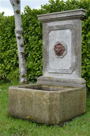 CARVED LIMESTONE FOUNTAIN