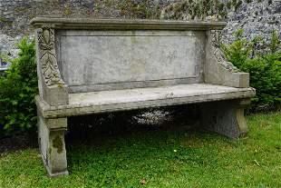 CARVED LIMESTONE BENCH